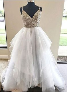 Straps Beaded White Long Prom Dress