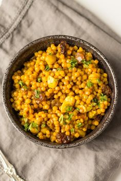 Curried Israeli Couscous. An easy, vegan dish that works for any occasion.