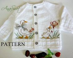 Knitting pattern baby cardigan with Crochet , Knitting pattern baby cardigan with Knit baby pattern.Pattern baby cardigan with örgü. Knitted Baby Cardigan, Baby Pullover, Cardigan Pattern, White Cardigan, Summer Cardigan, Pattern Baby, Baby Knitting Patterns, Top Pattern, Hand Knitting