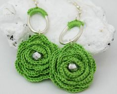 Flower crochet earrings  Long earrings  Crochet by lindapaula, €9.00 Pendientes,aretes,zarcillos de ganchillo.