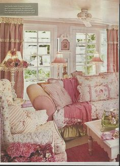 pink living room- come sit and wait awhile and enjoy a visit with other guest