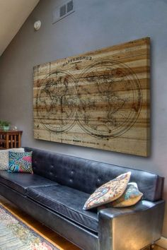 Mappe Pine Wood Wall Art by Marmont Hill Inc. Reclaimed Wood Art, Rustic Wood Walls, Barn Wood, Distressed Wood, World Travel Decor, Pallet Art, How To Distress Wood, Decorating Your Home, Decorating Ideas