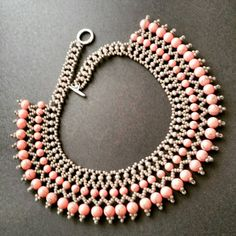 Check out this item in my Etsy shop https://www.etsy.com/listing/228498436/pink-agate-necklace-beadwork-necklace
