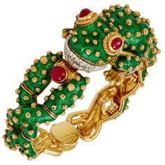David Webb 18kt. Gold and Platinum Diamond, Cabochon Ruby & Green Enamel Frog Watch circa 1980 PUR