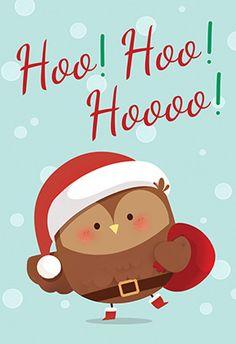 Free Printable Christmas Greeting Card - Santa Owl  Pinned by www.myowlbarn.com