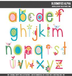 Bloomified Alpha Digital Clipart Clip Art Illustrations - instant download - limited commercial use ok