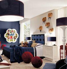 Perfect jungenzimmer gestalten zimmer in blau und wei kuscheltier b r dekoration runde hocker lampen