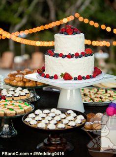 "Design W 0416 | 10""+6"" Wedding Cake with Fresh Fruits & Dessert Bar  | Custom Quote"