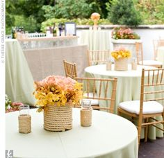 """A perfect """"country club"""" rehearsal dinner with nautical elements like the rope-wrapped vase. #RehearsalDinner"""