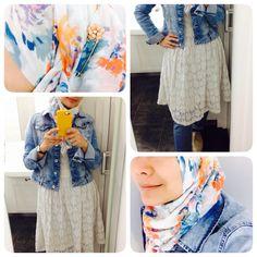 Flowery hijab + lace dress + denim jacket + oxford shoes #todayshijabstyle