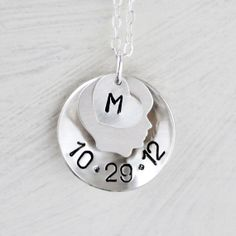Silver Personalized Boy Necklace  Birthdate Mom by VivaRevival, $47.00
