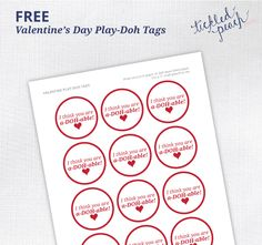 Valentine's Day Plah-Doh Tags - FREE Printables by Tickled Peach Studio