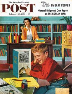 I could honestly care less about the frog...there's an open jar of ink!    Saturday Evening Post - 1956-02-25: Frog in the Library (Richard Sargent)
