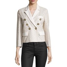 Versace Three-Quarter Sleeve Embellished Jacket ($2,092) ❤ liked on Polyvore featuring outerwear, jackets, white, double breasted leather jacket, white leather jacket, 3/4 sleeve jacket, white straight jacket and embellished leather jacket