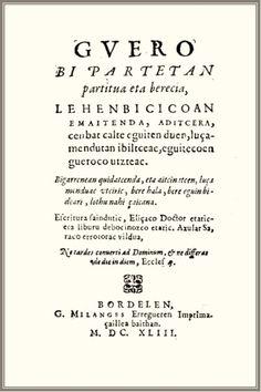 """Axular. """"Guero: bi partetan partitua eta berecia"""" (Burdeos, 1643)"""