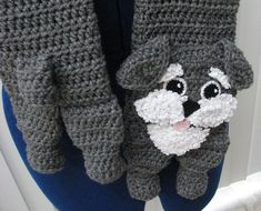 Heather Gray Schnauer Scarf and Tote Set by DonnasCrochetDesigns, $5.99