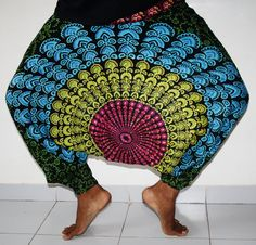 Black peacock design imprint Harem pants Psy Wear by Indianroute, $18.99