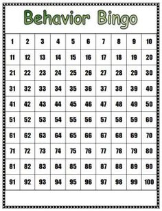 Behavior Management- When class gets an entire row of numbers filled in (horizontal, vertical, diagonal) the class will receive a special reward/party.