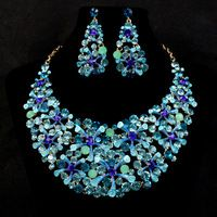 Blue Sapphire Rhinestone Bridal Wedding Jewelry Sets African Jewellery Choker Necklace and Earrings Bridesmaid Women's Day Gift Bridal Jewelry Vintage, Wedding Jewelry Sets, Big Jewelry, Crystal Jewelry, Jewellery, Rhinestone Jewelry, Luxury Jewelry, Diamond Jewelry, Bridal Necklace Set