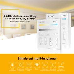 Milight T2 220V 4-Zone CCT Adjust Smart Panel Remote Controller color temperature and brightness for led strip light  bulb