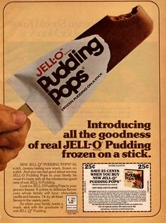 Jell-o Pudding Pops — Bill Cosby did the commercials. Jell-o Pudding Pops — Bill Cosby did the commercials. Cottage Cheese Benefits During Pregnancy Jell O, My Childhood Memories, Great Memories, Childhood Toys, School Memories, Halloween Desserts, Jello Pudding Pops, Jello Pudding Recipes, Chocolate Pudding Pops