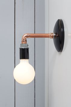 Industrial Wall Sconce Copper Pipe Light Bare Bulb by IndLights