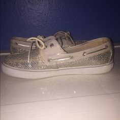 Silver Glittered Sperrys I can count the times I've worn these on one hand. they're just not my style, and they're too narrow for my wide feet. in fantastic condition, little minor shows of wear. Sperry Top-Sider Shoes Flats & Loafers