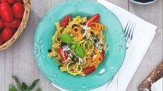 Fusilli alla crudaiola con verdure, semi di zucca e ricotta salata