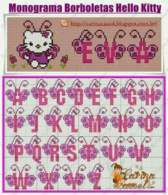 Pin by Anime&Fantasy on Hello Kitty Cross Stitch Alphabet Patterns, Cross Stitch Letters, Cross Stitch Baby, Stitch Patterns, Embroidery Alphabet, Hello Kitty Crochet, Disney Alphabet, Plastic Canvas Letters, Cross Stitch Needles