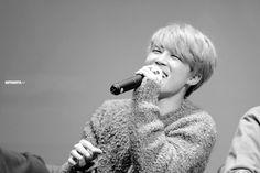 Jimin | fansign | fansite | superduper.kr | 2015 | orange hair | black and white photo