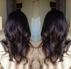 "Brunette balayage.  As close as you can get to what a ""natural"" highlight would look like.  So pretty....If I color, it'll be this technique I'm looking to get done."