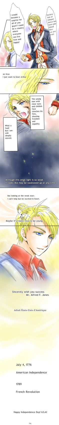 """APH manga.Francis,Alfred. Star by Vladimirka.deviantart.com on @deviantART - I really like how this shows Francis' shifting opinion about the American Revolution - and how true to history it is. The French initially saw it as yet another theatre in their conflict against Britain, but then the French veterans who helped fight for American independence came back...and they'd adopted the same ideas."""
