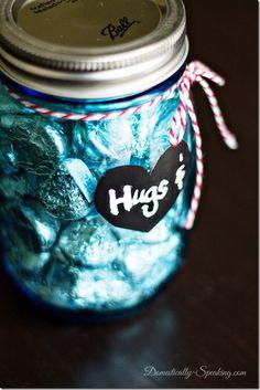 Valentine Craft Ideas - Hugs & Kisses Mason Jars - Mason Jar Craft Ideas @Mason Jar Crafts Love