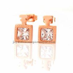 aretes con cristal de cuardo en acero de color oro rosado-SSEGG403119