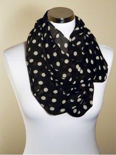 663823b2afa1 Foulard tube snood été femme motifs pois, fond de couleur noir pois blanc