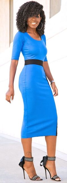 Midi Dress With Black Contrast                                                                             Source