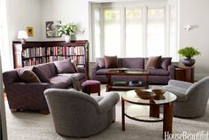 """The living room is in a plummy, chocolaty, pale blue world, but it isn't any one of those colors,"" says Tedhams,"