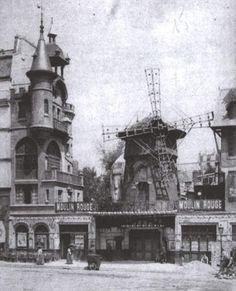 19th century, black and white, montmartre, moulin rouge, paris, vintage