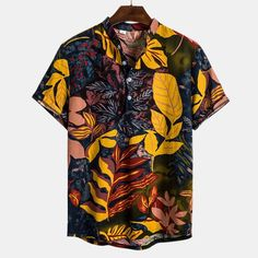 Mens Tropical Leaves Printed Loose Casual Short Sleeve Henley Shirts is best and cheap on Newchic. Mens Printed Shirts, Loose Shirts, Henley Shirts, Men's Shirts, African Print Shirt, African Shirts, Beach Shirts, Summer Shirts, Mens Fashion Wear