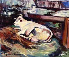 Cow Lying Down in the Stable, 1921 - Suzanne Valadon (French, 1865-1938) Post-Impressionism