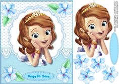A lovely card with a Beautiful Princess in a scalloped frame and flowers has one greeting tag and a blank one