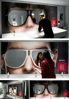 Espelhos em formato de óculos escuros
