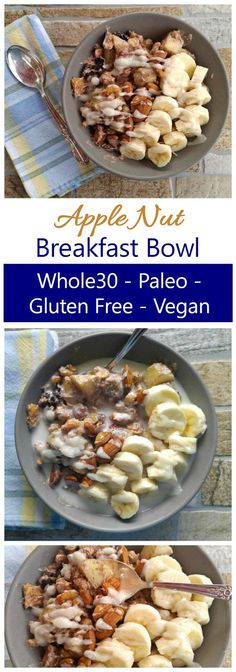 This Whole30 Breakfast Bowl is a warm bowl of healthy ingredients. It's also Paleo, Vegan, Dairy Free and Gluten Free. So filling and tasty!