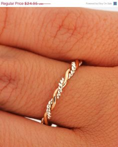 SALE Twist Ring - Stacker Ring - Thumb Ring - Gold Filled - Argentium Sterling Silver - Handmade on Etsy, $19.96