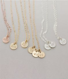 Simple, Dainty, Tiny Disk Necklace -Personalized Initials, Roman Numerals, Dates... by Layered and Long
