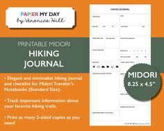 Midori Traveler's Notebook Hiking Journal - Midori TN Inserts - Midori Printables New Item from Papier My Day
