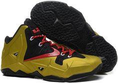 Nikes Lebron 11 Golden Red Black