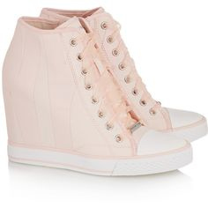 Designer Clothes, Shoes & Bags for Women High Top Wedge Sneakers, Pink Sneakers, Sneakers Fashion, Fashion Shoes, Wedged Sneakers, Funky Shoes, Cute Shoes, Kawaii Shoes, Lolita Shoes