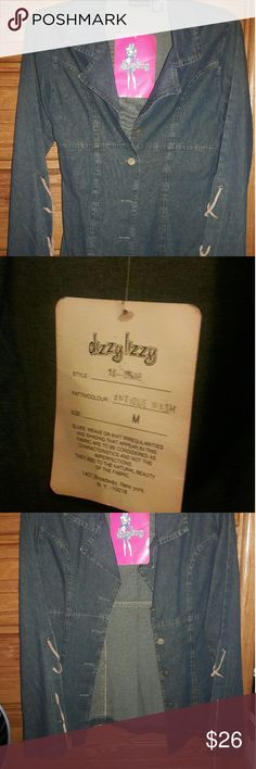 Denim button up, M Special detail-lace up bell sleeves! Dizzy Izzy Tops Button Down Shirts