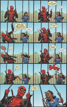 Deadpool interacts with children